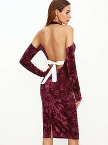 Burgundy Halter Cold Shoulder Bow Tie Open Back Velvet Dress