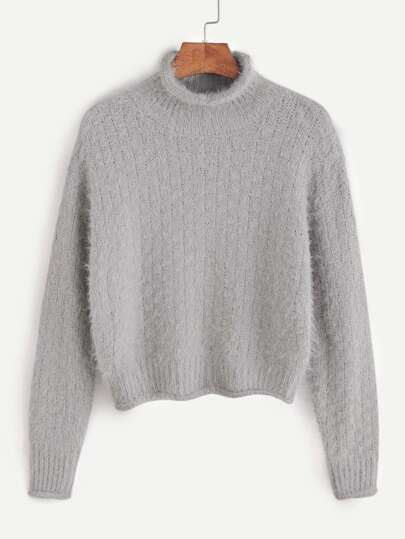 Grey High Neck Drop Shoulder Crop Fuzzy Sweater