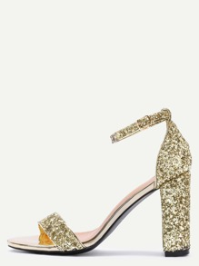 Glittery Gold Sequin Open Toe Mary Jane Ankle Strap Sandals