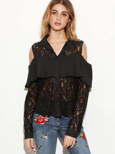 Black Cutout Shoulder Ruffle Trim Sheer Floral Lace Blouse