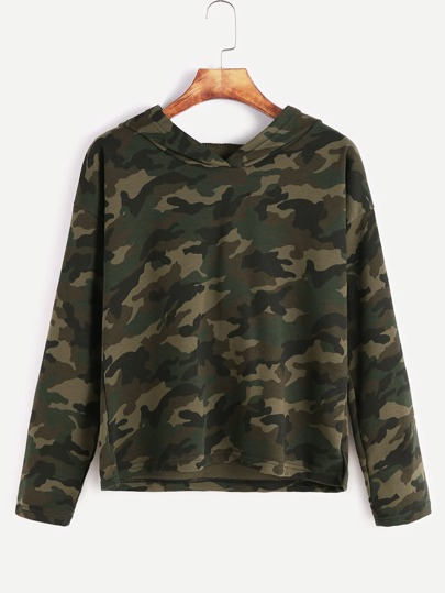 Camo Print Hooded Drop Shoulder Sweatshirt