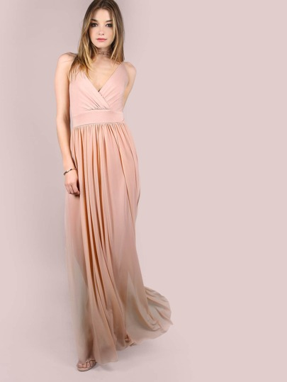 Pink Deep V Neck Strappy Back High Slit Mesh Dress