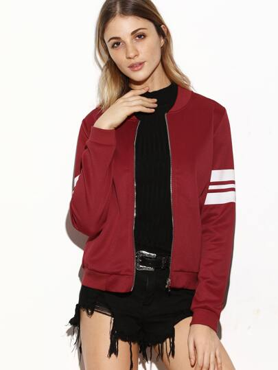Burgundy Striped Sleeve Zip Up Bomber Jacket