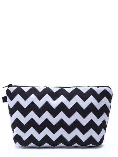 Bolsa de maquillaje con estampado geométrico - negro y blanco