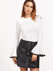 White Contrast Binding Bell Sleeve T-shirt