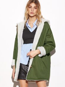 Drop Shoulder Zipper Back Sherpa Lined Hooded Coat