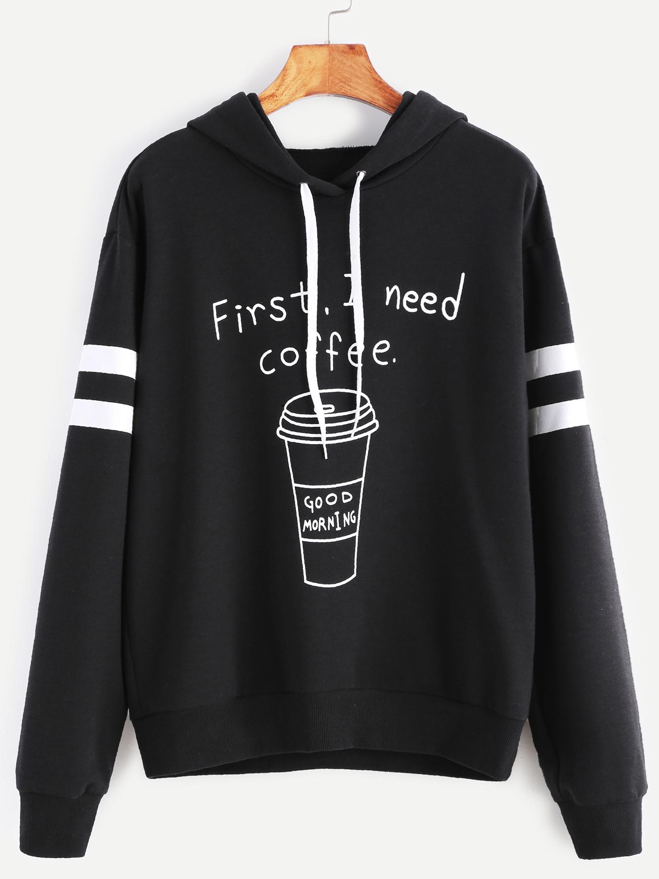 Black Coffee Print Striped Sleeve Hoodie sweatshirt161111704