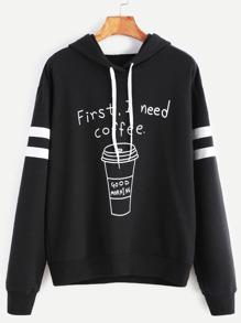 Black Coffee Print Striped Sleeve Hoodie