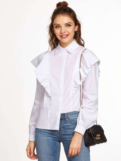 White Ruffle Trim Hidden Button Blouse