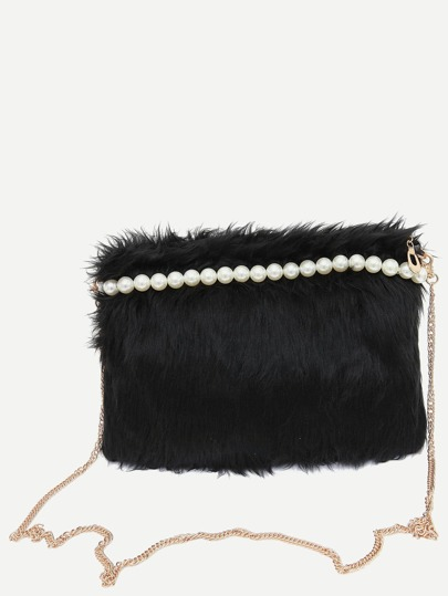 Black Beaded Faux Fur Clutch With Chain Strap