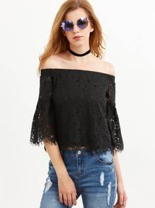 Black Off The Shoulder Bell Sleeve Floral Lace Top