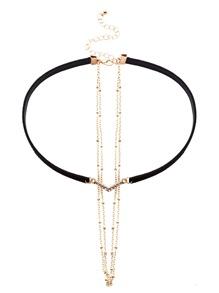 Black Faux Leather Layered Chain Rhinestone Choker Necklace