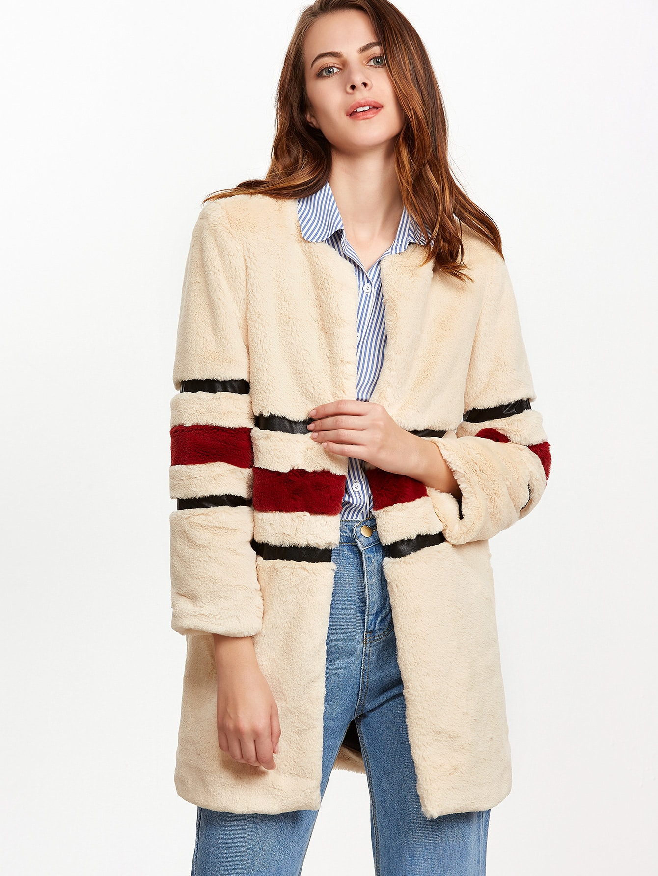 Coats Apricot Faux Fur Collarless Short Winter Striped Fabric has no stretch Long Sleeve Outerwear.
