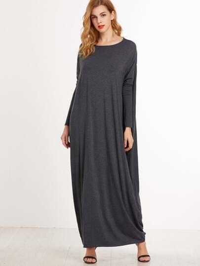 فستان رمادي داكن ياقة مستديرة كم طويل