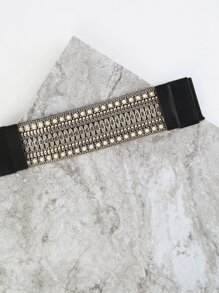 Pearl Lined Stretch Belt BLACK