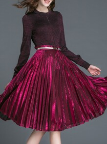 Burgundy Pleated Velvet Belted Top With Skirt