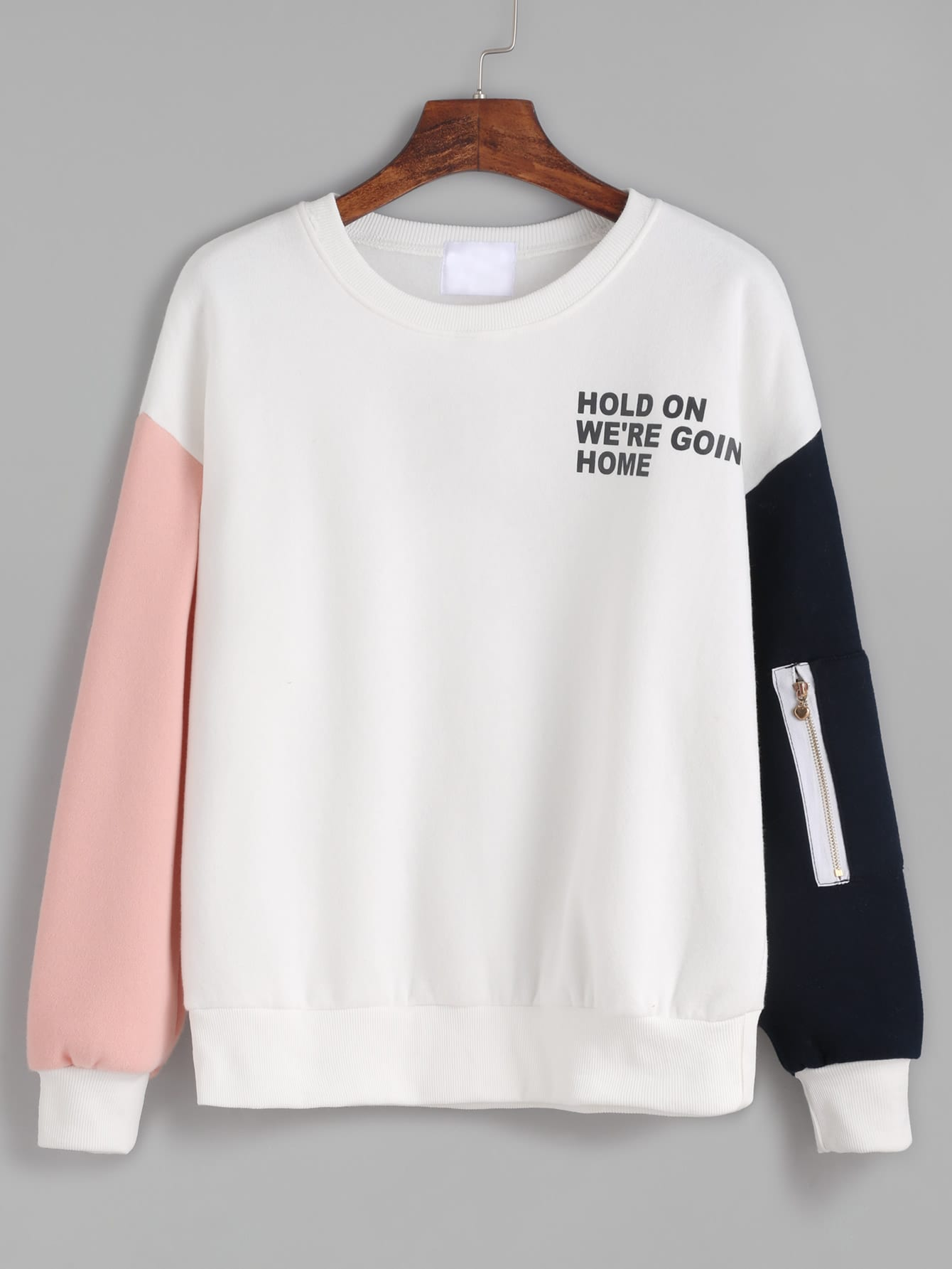 Contrast Drop Shoulder Letter Print Zipper Detail Sweatshirt kids letter print sweatshirt