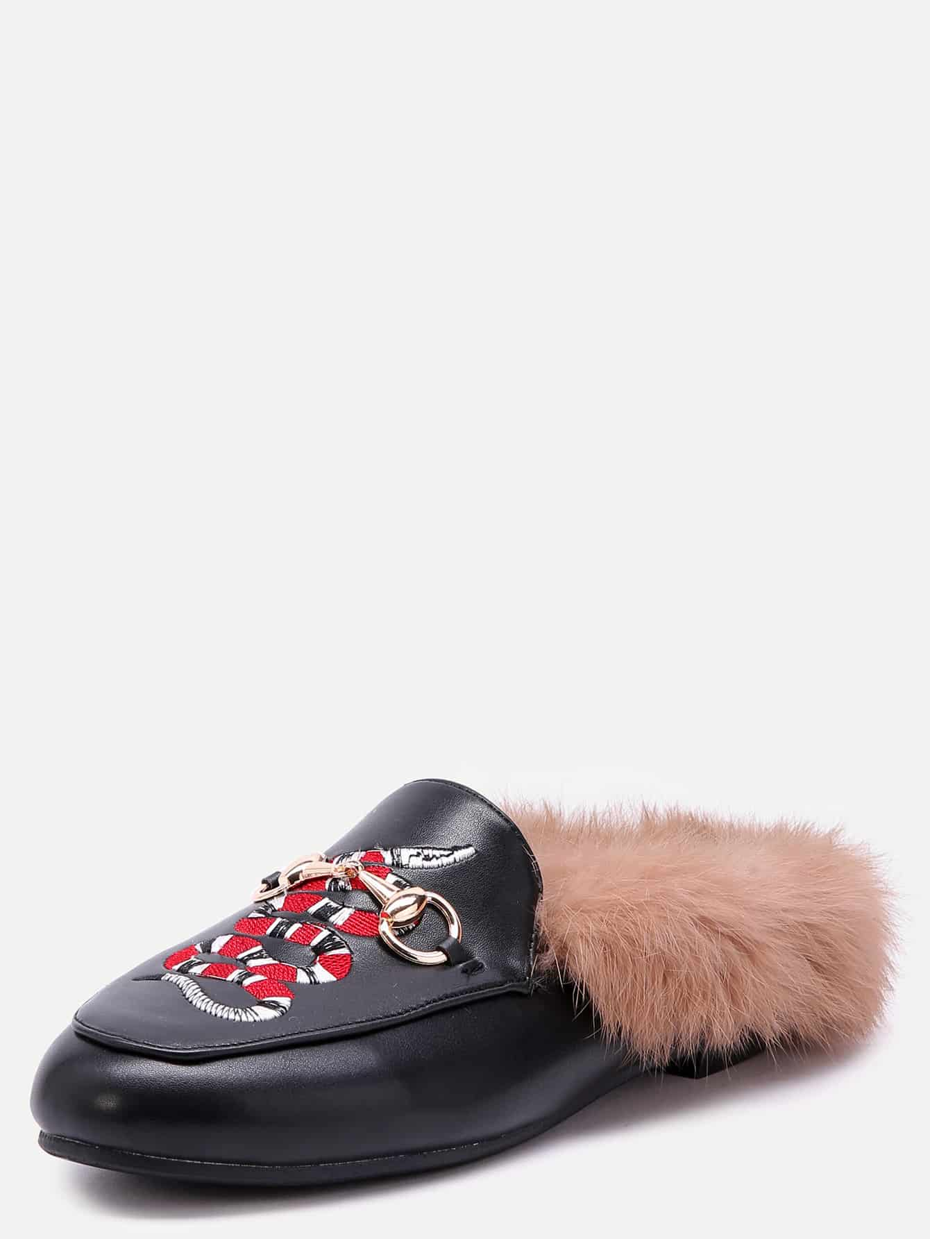 Black Snake Embroidered PU Fur Trim Loafer Slippers