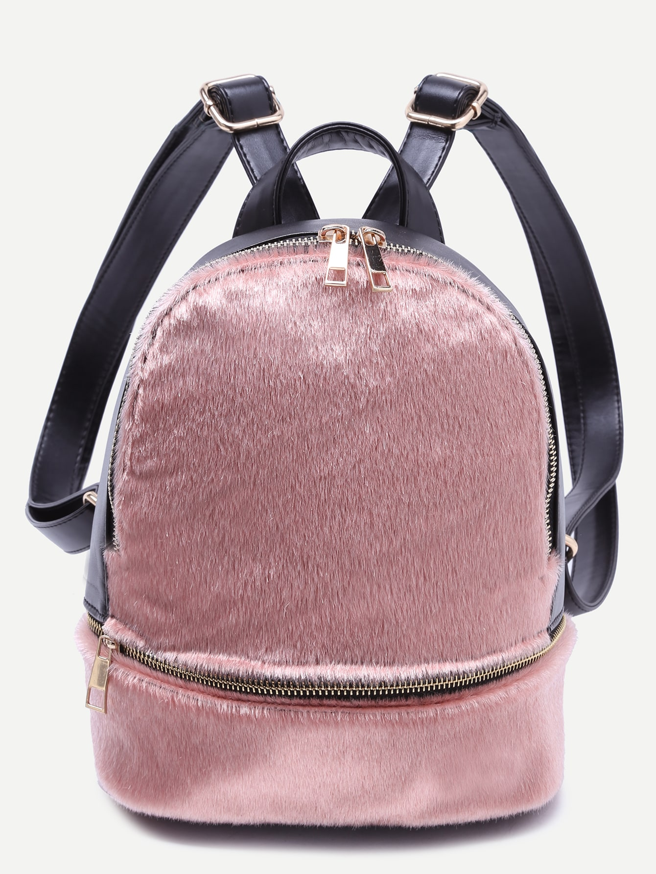 Pink Faux Fur Covered Zip Front BackpackPink Faux Fur Covered Zip Front Backpack<br><br>color: Pink<br>size: None