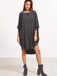 Grey Marled Dolman Sleeve High Low Dress