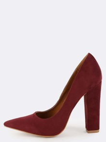 Suede Pointed Chunky Heel Pumps WINE
