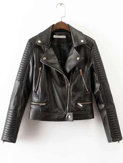 Veste moto zippé oblique en cuir PU -noir