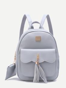 Rucksack verschönert Taschen Vorne PU-grau