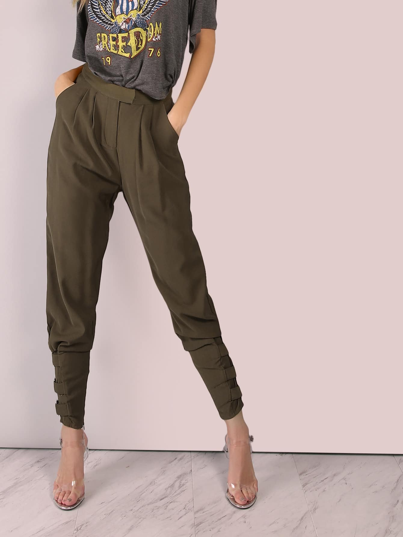 Image of Tailored Cigarette Buckle Pants OLIVE