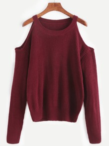 Burgundy Open Shoulder Knit Sweater