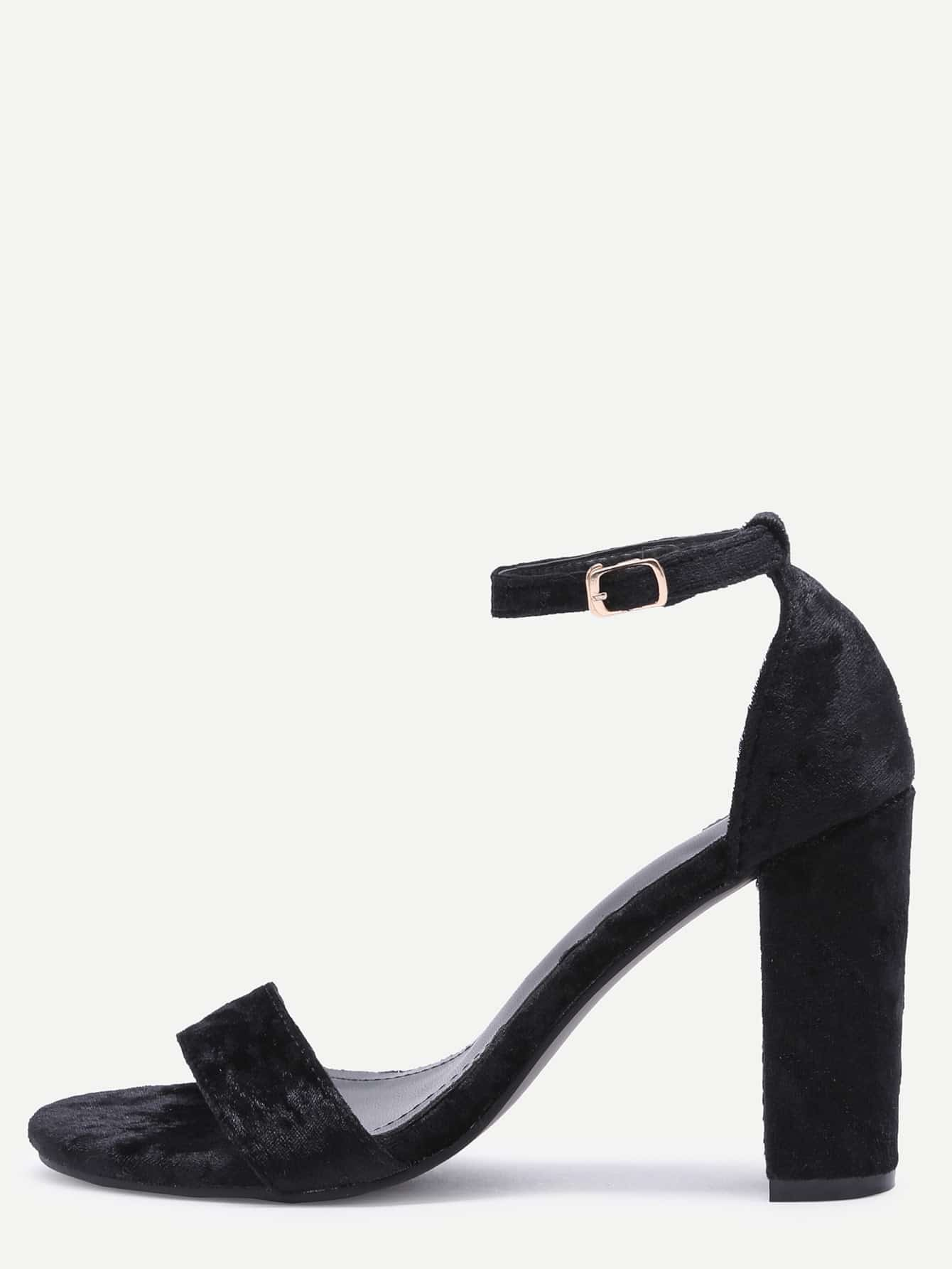 Buy Black Velvet Peep Toe High Heel Mary Jane Shoes