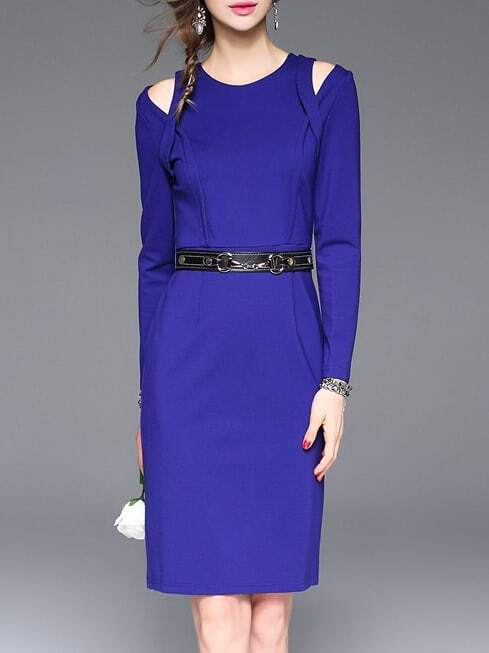 Фото Blue Open Shoulder Belted Sheath Dress. Купить с доставкой