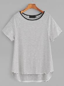 White Striped Contrast Neck Raglan Sleeve High Low T-shirt