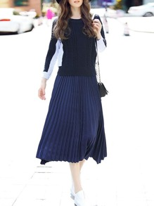 Navy Knit Contrast Striped Top With Pleated Skirt