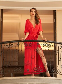Red V Neck Tie Waist Split Maxi Dress