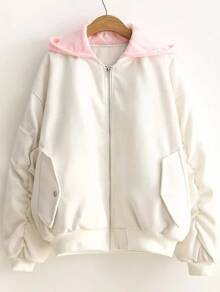 White Letter Embroidery Contrast Hooded Zipper Coat