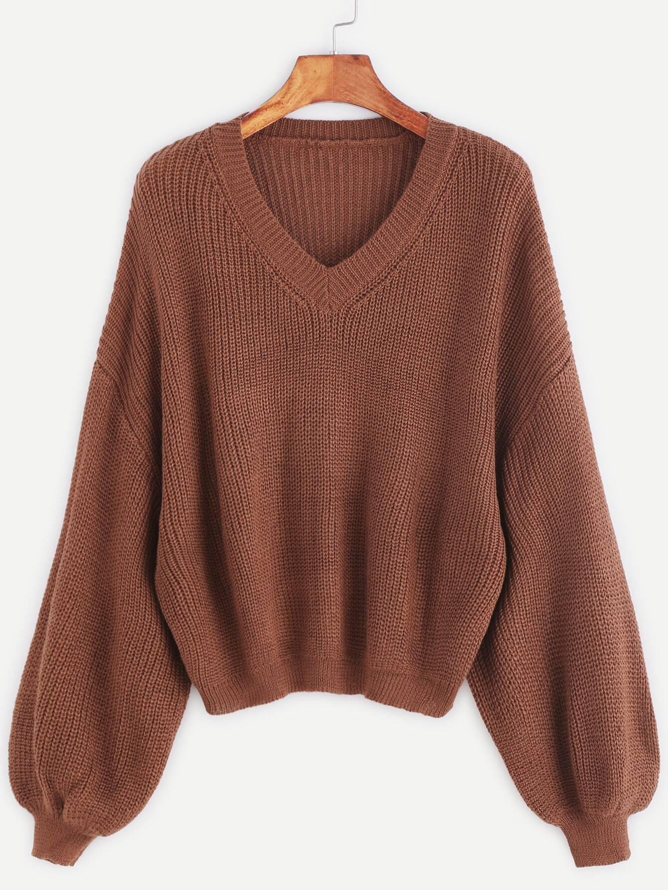 Khaki V Neck Drop Shoulder Lantern Sleeve Sweater sweater161107002