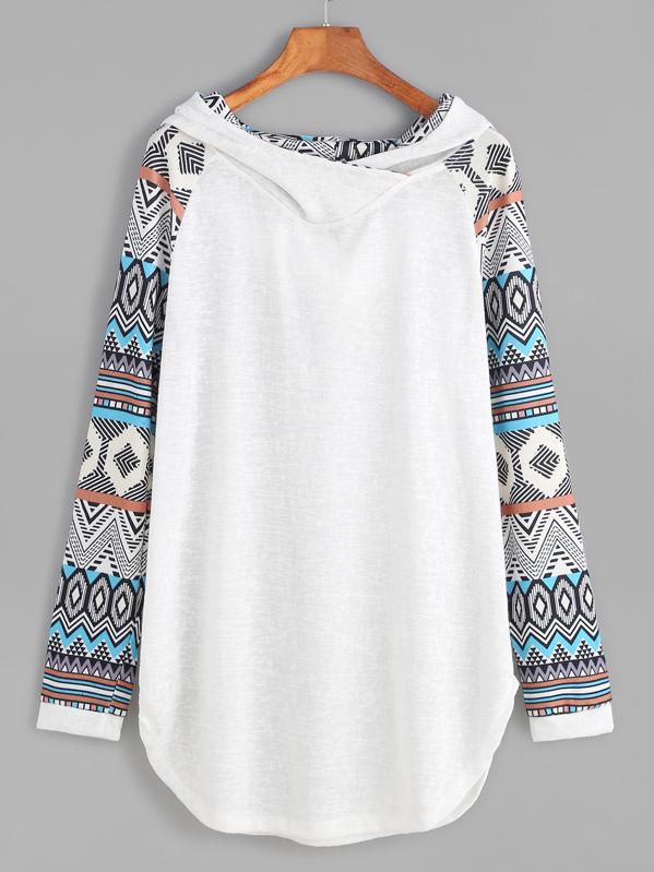 Contrast Raglan Sleeve Curved Hem Hooded Sweatshirt, null