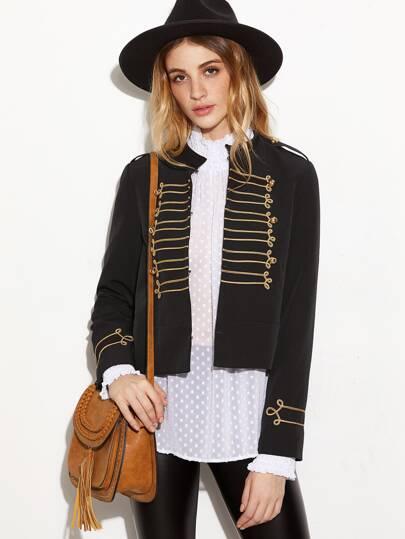 Black Band Collar Epaulet Shoulder Jacket With Applique Detail