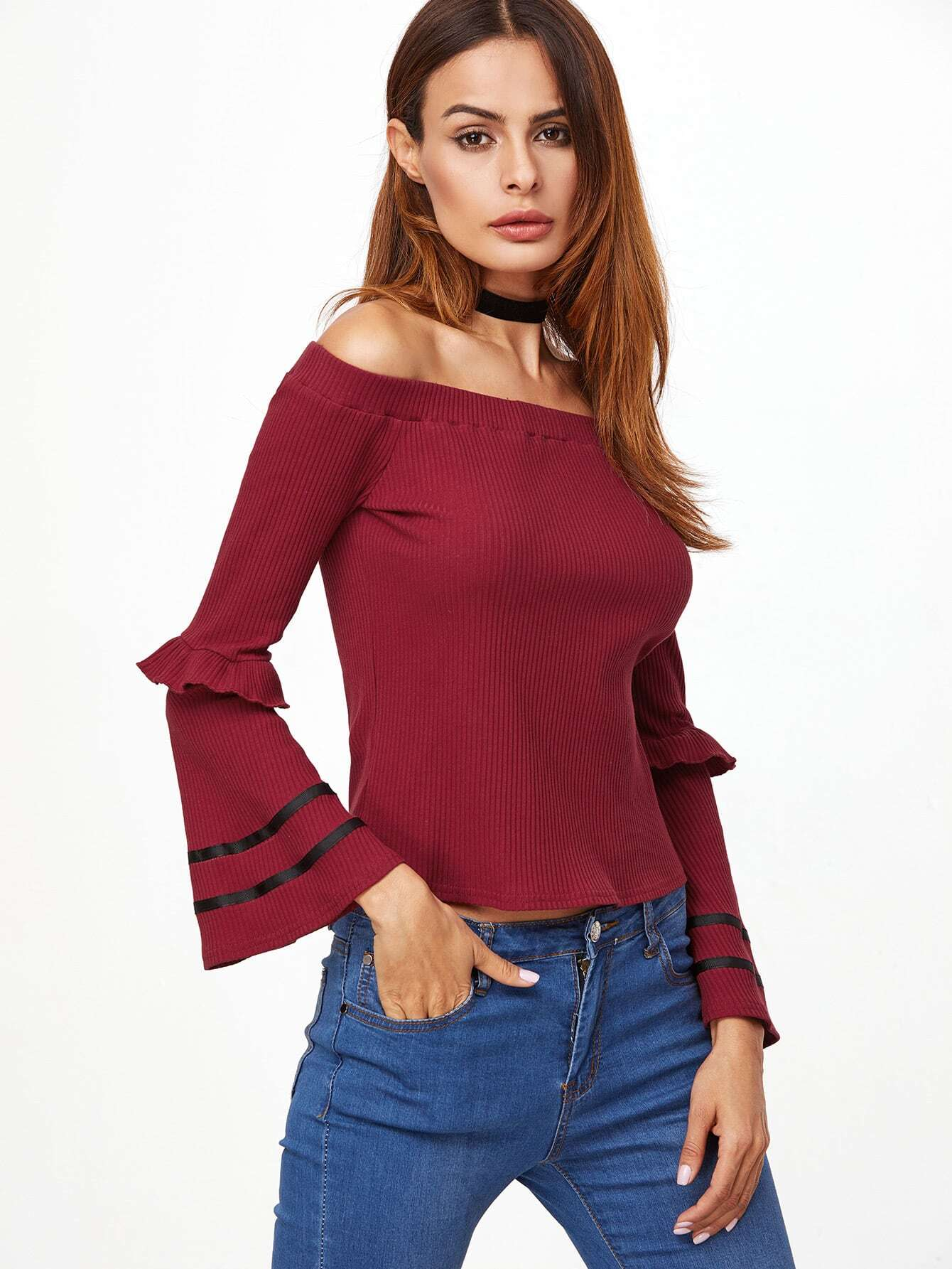 Burgundy Off The Shoulder Striped Bell Sleeve Ribbed T-shirt tee161111704