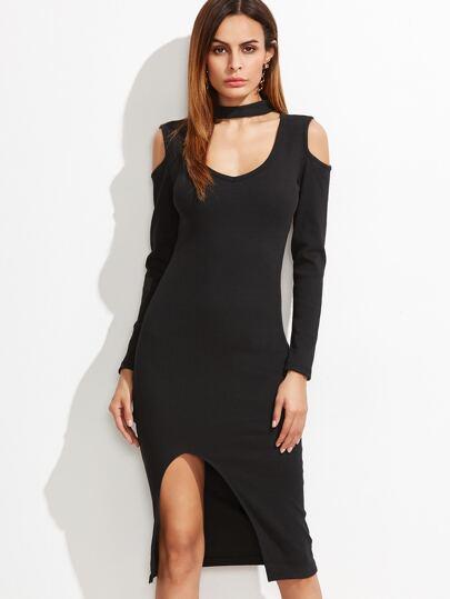 Black Cut Out Choker Neck Slit Hem Dress