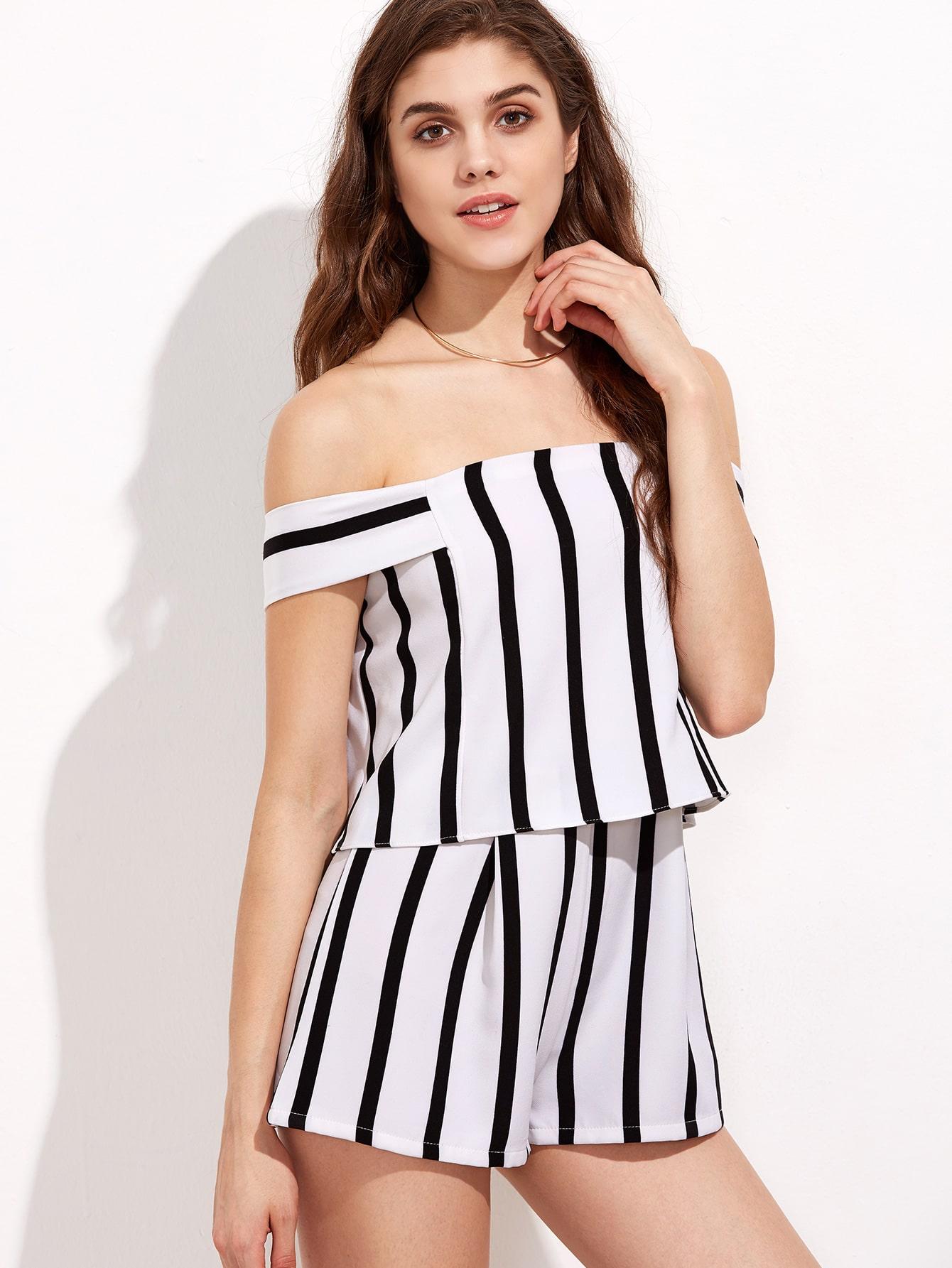 Black and White Stripe Off The Shoulder Short Jumpsuit