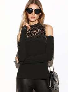 Black Hollow Out Crochet Neck Cold Shoulder T-shirt