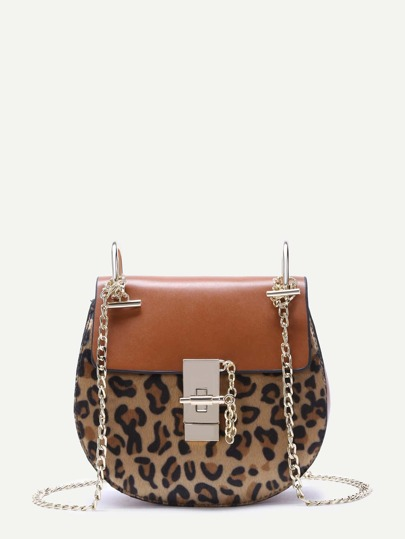 Brown Leopard Print Flap Saddle Bag With Chain Strap