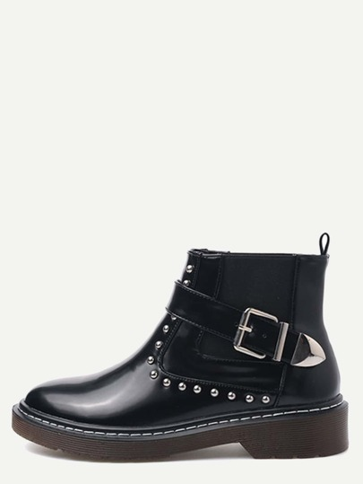 Black Ankle Strap Studded PU Chelsea Boots