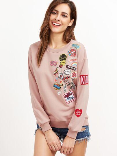 Pink Cartoon Print Embroidered Patch Sweatshirt