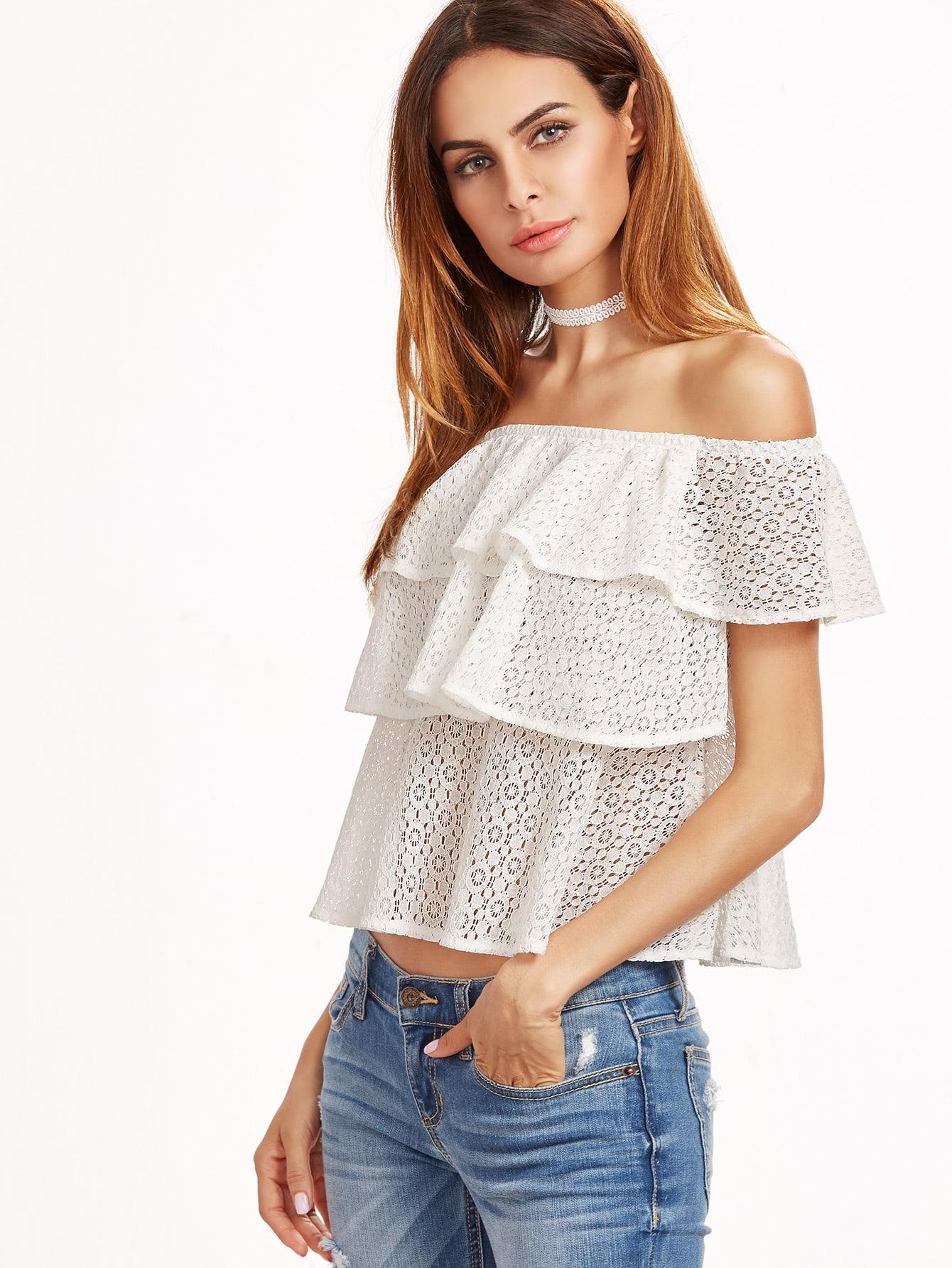 Фото Flounce Layered Lace Bardot Top. Купить с доставкой