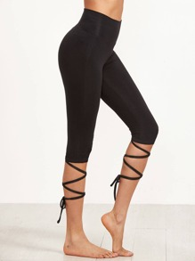 Crop Leggings With Crisscross Wrap Detail