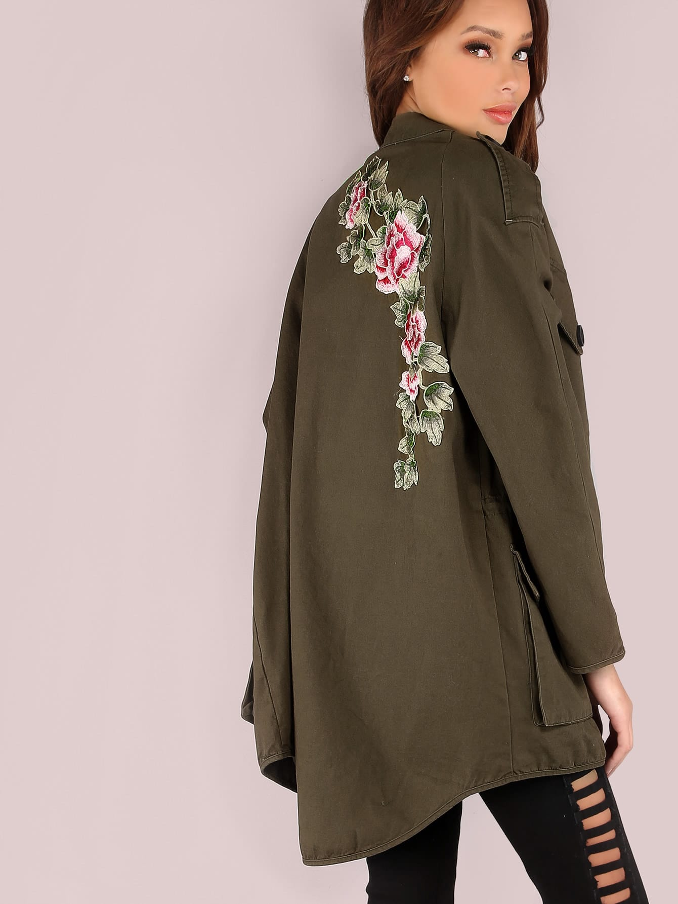 Oversized embroidered hoodless utility jacket shein