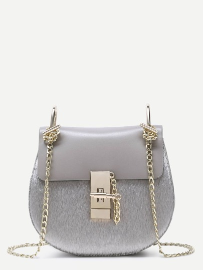 Grey Horse Hair Covered PU Saddle Bag With Chain Strap
