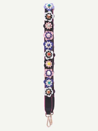 Mulitcolor Floral Patch PU Shoulder Strap
